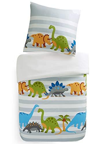 SCM Kinder Bettwäsche 135x200cm Dinosaurier 2-teilig Bettbezug Kopfkissenbezug 80x80cm Renforcé Junge Jugendliche Teenager Kinderbett Dinosaur Grün Blau (Dinosaurier Bettwäsche Baby)
