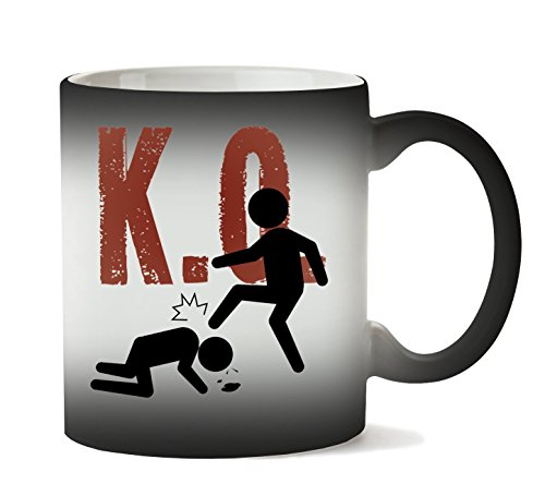 MugWorld K O Red Fonted Funny Combat Fashioned Taza Calor Cambio De Color