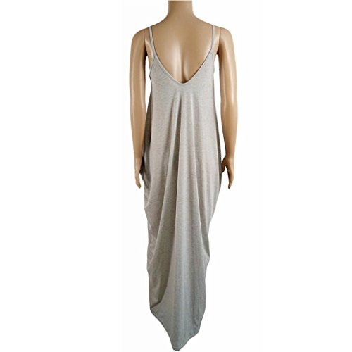 Tonsee Femmes Sexy Boho longue Maxi Parti robe de soirée robe de plage Gris
