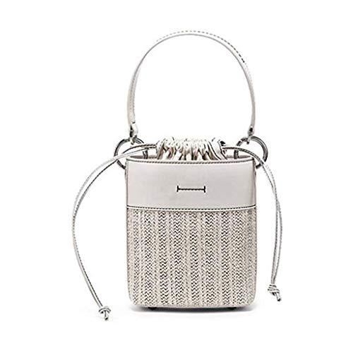 HUNYUAN-LF Handtaschen-Stroh-Beutel Woven Rattan-Beutel-Wannen-Beutel-Handtaschen Arbeiten Wilde Breite Schulterriemen Schulter Messenger Bag (Color : White)