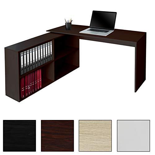 EcoMI Eckschreibtisch Winkelschreibtisch Schreibtisch L-Förmige 130 x 60 cm Computer PC Tische Bürotisch mit Bücherregal Winkelkombination Arbeitstisch Office Table - Nussbaum