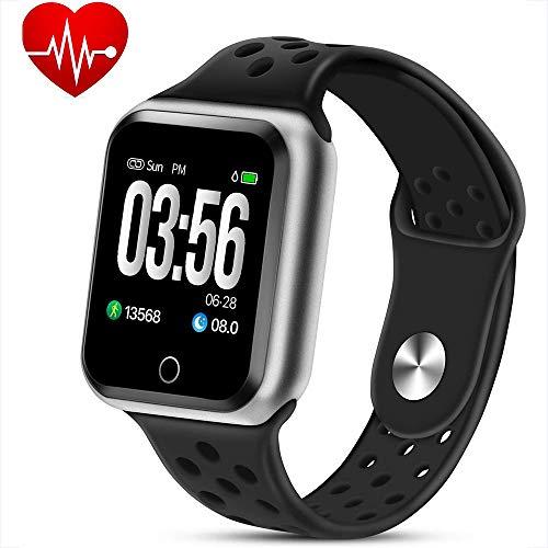 WQWEAQA Fitness Tracker Watch, attività Trackers con Heart Rate Monitor di Pressione sanguigna, Abbigliamento Elegante Bracciale Impermeabile Watch Sonno Monitor Calorie Counter,Black+Silv