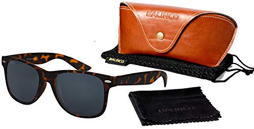 Balinco Hochwertige Polarisierte Nerd Rubber Sonnenbrille im Set (24 Modelle) Retro Vintage Unisex Brille mit Federscharnier (Leo-Smoke) (Braune Wayfarer Sonnenbrille)