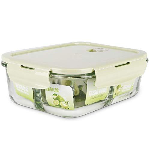 Ihouse scatola pranzo/lunch box, scatola da pranzo sigillata a prova di troppopieno, contenitore per alimenti con coperchio, contenitore per insalata in vetro/stoviglie, 3 griglie 1l verde