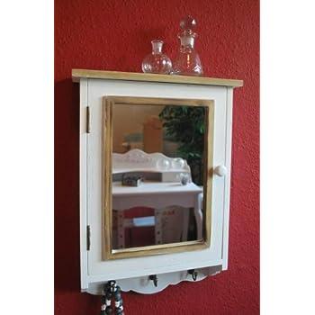 Schlüsselschrank Schlüsselkasten antik weiß mit Spiegel Landhaus ...