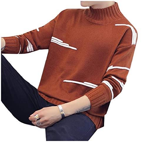 CuteRose Men Long Sleeve Stripe Mock Neck Thickened Knitwear Sweaters 1 XL - Mock Neck Cardigan Pullover