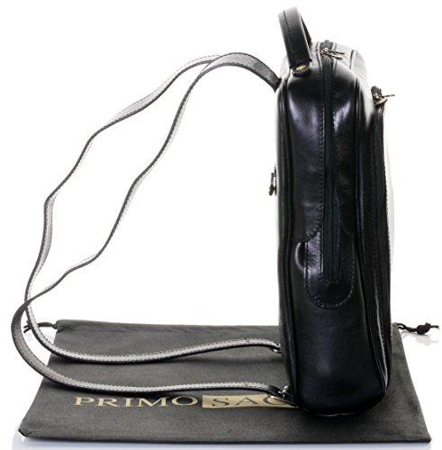 Lusso in pelle italiana Gentlemans classico stile zaino zaino borsa portadocumenti Tracolla.Fornita nella pratica custodia protettiva marca Nero