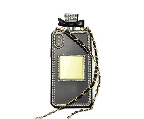 iPhone X Fall, iPhone 10Fall, fusicase Creative Parfüm Flasche Design mit 3D Handmade glänzend Sparkle Diamond Kette Bumper TPU Weiche Handtasche Fall Spannbettlaken für iPhone X, Schwarz