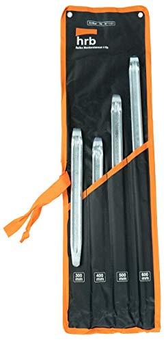 HRB Profi Montiereisen Set, 4 teilig - Montierhebel, Reifenmontage Werkzeug in den Größen 300/400/500/600 mm Länge, Stabiles Hebelwerkzeug, Motorrad Werkzeug