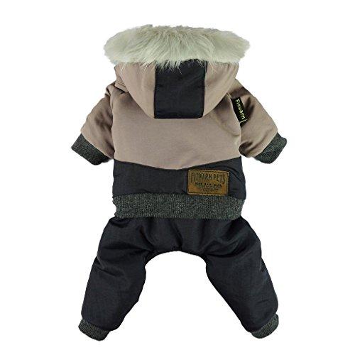 Fitwarm Wasserdicht Haustier Kleidung für Hunde Winddicht Jacken Outdoor Fleece Hooded Mäntel Schwarz, XX-Large (Chest23 Back18), Schwarz -
