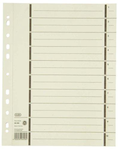 ELBA 400004672 Trennblätter aus Recycling-Kraftkarton für DIN A4 100er Pack mit Perforation mit Linienaufdruck chamois Trennlaschen Trennblätter Ordner Register Kalender Blauer Engel