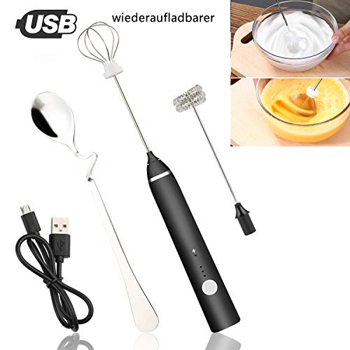 Elektrischer Milchaufschäumer, JTENG USB Wiederaufladbar Edelstahl Milchaufschäumer, 2 in 1 Milchschäumer Elektrisch für Kaffee/Latte/Cappuccino, Eier Schlagen