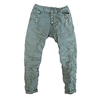ITAIMASKA Damen Jeans Hose Reißverschluss Knopfleiste Freizeithose HS3209 (M, Armee Grün)
