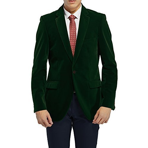 robelli Herren Velvet einreihig Blazer Anzug Jacke - Grün, UK48 / EU58 (Velvet Anzug)