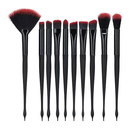 Cooljun 10 PCS Pinceaux Maquillage Professionnel de Voyage Haut de Gamme, Fibres Synthétiques Souples, Makeup Brushes Complet Soyeux et Facile pour Tous Types de Maquillage (Noir)