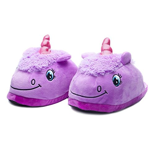 2 Von Sache Kostüme (Licy Life-UK Damen Plüsch Pantoffeln Cartoon Kostüm Unicorn Hausschuhe Tierhausschuhe Weihnachtsgeschenk Gr.36-41)