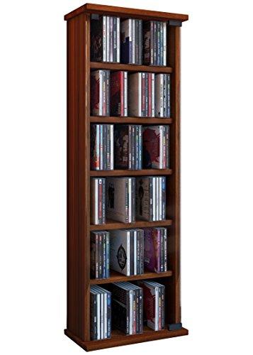 VCM 25212 Regal DVD CD Rack Medienregal Medienschrank Aufbewahrung Holzregal Standregal Möbel Vetro Kern-Nussbaum