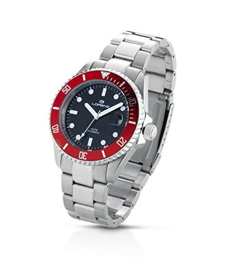 Reloj automático para Hombre Lorenz Diver 17695hh Acero Negro Rojo Sub 100MT