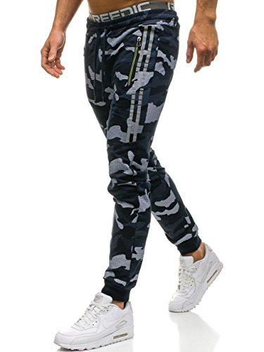 BOLF Hombre Pantalón De Chándal Jogger Pantalones Deportivos Patrón de Camuflaje Pantalones de Algodón Red Fireball W1601 Azul Oscuro XXL [6F6]