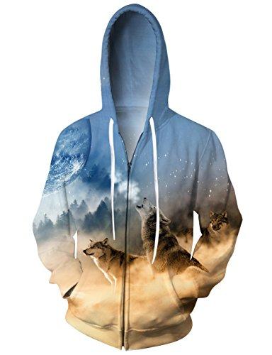 Zip Front T-shirt Kleid (uideazone Teens Wolf Moon Zip Hoodie Sweatshirts Langarm Pullover Pullover Tops)