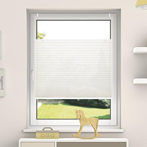 DESWIN Plissee Rollo KlemmFix ohne Bohren - 140x 60 cm Altweiss - Blickdicht Sonnenschutz und SichtschutzEasyFix Jalousie für Fenster & Tür- verspannt (inkl. 4X Klemmträger/Klemmhalter) ...