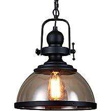 Retro Pendelleuchte Glassschirm Rund Design Vintage Küche Lampe  Hängeleuchte E27 Eisen Hängelampe Rustikal Wohnzimmer Esszimmer  Arbeitszimmer