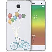 Funda carcasa TPU Transparente para Xiaomi Mi4 diseño bicicleta vintage con globos