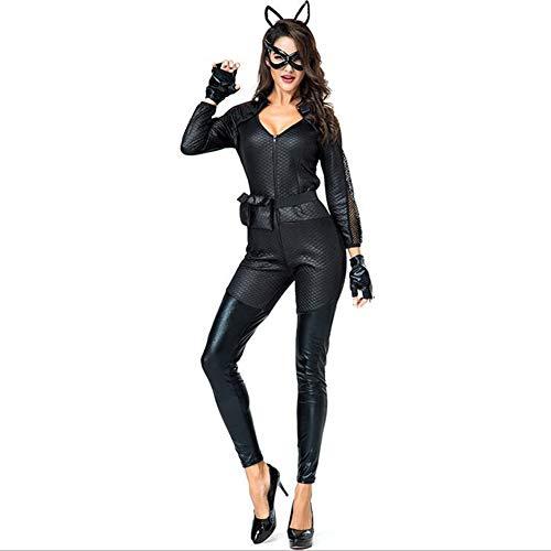 CYYMY Damen Leder Cat Mädchen Cosplay Halloween Kostüm Karneval Uniform Party Einstellen Anzieh Teddy Dessous Kostüm Schlafanzug,Schwarz,XL