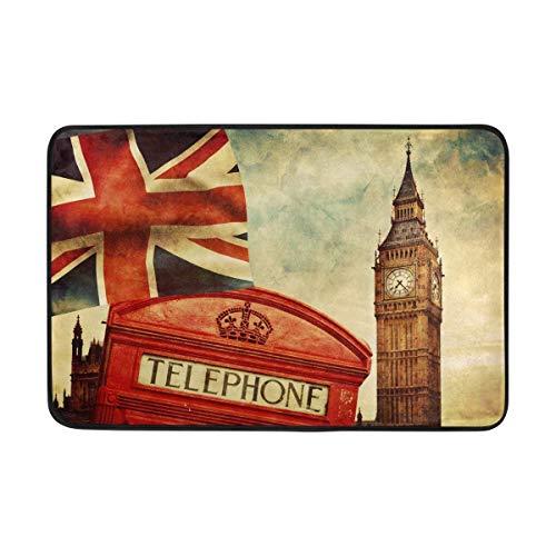 ALAZA Retro London Big Ben Britische Flagge Telefon House Fußmatte Indoor Outdoor Entrance Unterlegmatte Badezimmer 59,9x 39,9cm (Baumwoll-teppich Britische)