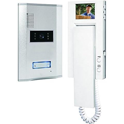 Smartwares VD61 - Sistema de video portero para 1 apartamento, 4 alámbricos, con 2 vías de comunicación de audio