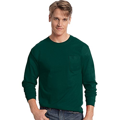 Hanes Mens Tagless Long-Sleeve T-Shirt With Pocket Deep Forest