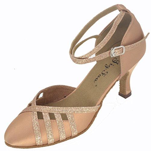 Jig Foo Damen Pumps Dance Schuhe, Braun - Hautfarben - Größe: 39