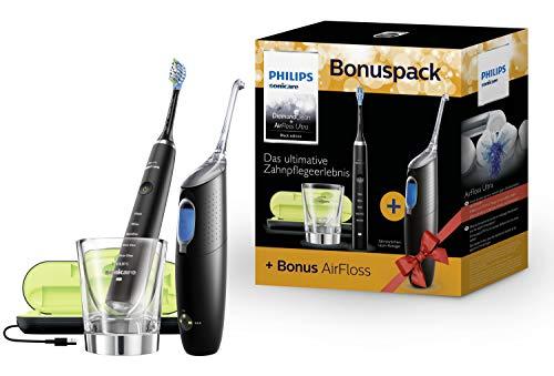 Philips Sonicare Bonuspack HX8492/03 – Schallzahnbürste DiamondClean & AirFloss Ultra Zahnzwischenraumreiniger, Schwarz