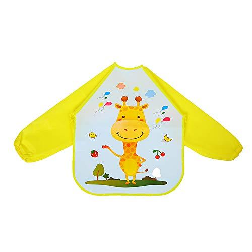 HJDQ Alimentazione del Bambino Abbigliamento - Baby Smock Impermeabile Eva Feeding Abbigliamento Bib Burp con Il Modello del Fumetto a Perfetta Tenuta del Bambino Smock, Giraffa G