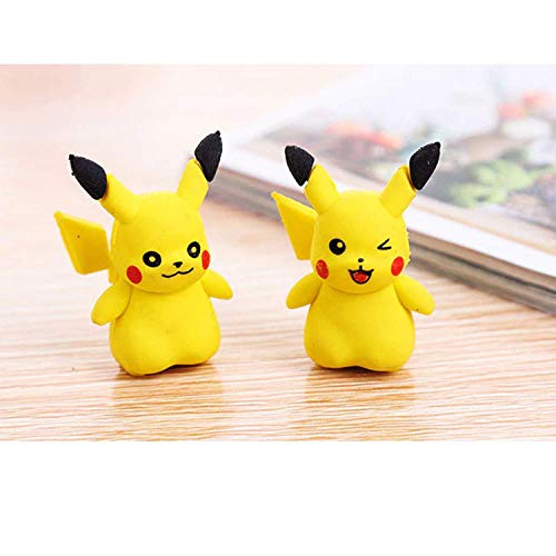 Trendy Tap Pokemon Pikachu Fancy Party 3D Eraser Topper for Birthday Return Gift or Use As Pencil and Pen Cap Pikachu Stationery for Kids (Pack of 2)