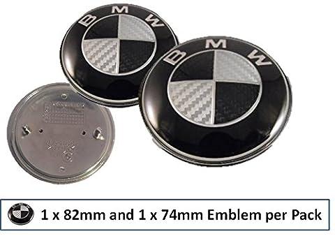 BMW-Plakette für Motorhaube/Kofferraum, 1x 74mm und 1x 82mm, schwarz-weiß, Karbonfaser