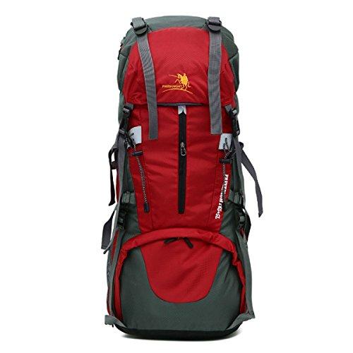 Tragbar Nylon Feld Abenteuer Rucksack Groß Kapazität Im Freien Klettern Tasche Red
