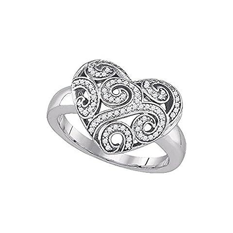 Damen Ring / Verlobungsring 1/4 Totall Karat Diamant MICRO-PAVE Herz RING
