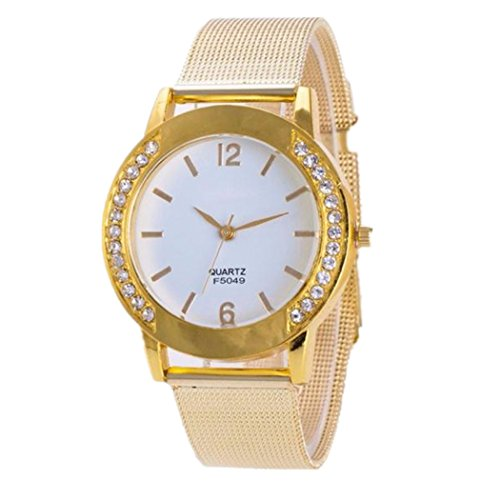 Valentinstag Uhren Dellin Fashion Women Crystal Golden Stainless Steel Analog Quartz Wrist Watch Bracelet (golden)