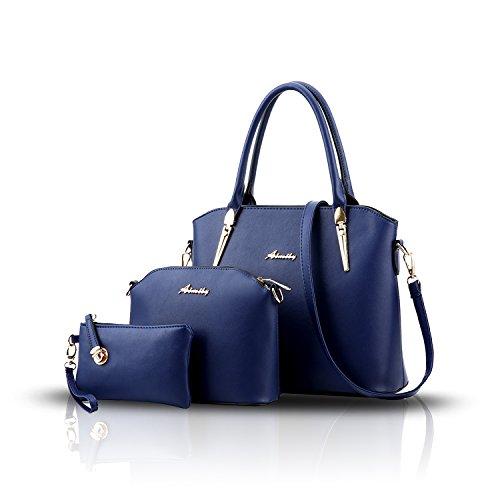 Tisdain Nuovo modello Femminile Borse Moda Stile semplicistico Set di 3 borse Borsa a mano + Borsa messenger + Portafoglio deep Blue