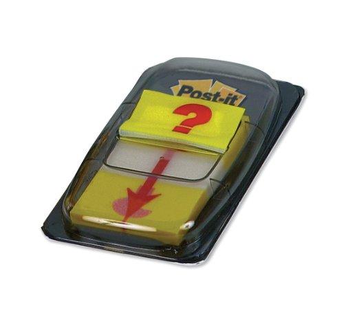 Post-it 680-32 Index - Notas autoadhesivas, 25,4 x 43,2 mm, 12 unidades, diseño con signo de interrogación, color amarillo