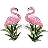 Htrdjhrjy Wunderbare 2PCS Flamingos Muster Patch Aufbügeln Verschiedene Stile,Bestickt Nähen Onfabric Applikationen Zubehör Set für Jeans Jacken Bekleidung Beutel für Zelten,Picknick und Andere