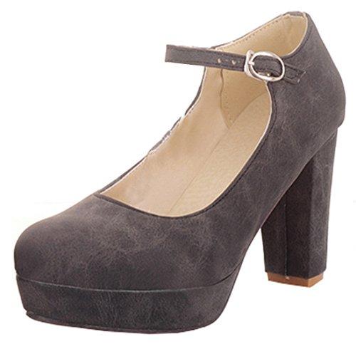 YE Damen Ankle Strap Pumps Geschlossene Blockabsatz High Heels Plateau mit  Riemchen und 9cm Absatz Elegant