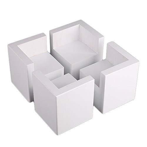 Ruineng smart semi-Closed L-förmigen Holz Tisch Schreibtisch Bett Riser Lift Möbel Lifter Speicher für 10x 10cm Füße bis zu 8cm Lift weiß - L-förmigen Schreibtisch Aus Holz