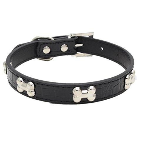 Haustier Halsband erthome Exquisite verstellbare Schnalle Metall Knochen Hund Welpen Haustier Halsbänder (S (37 x 1.5CM), Schwarz) - Hundegeschirr Hund Knochen