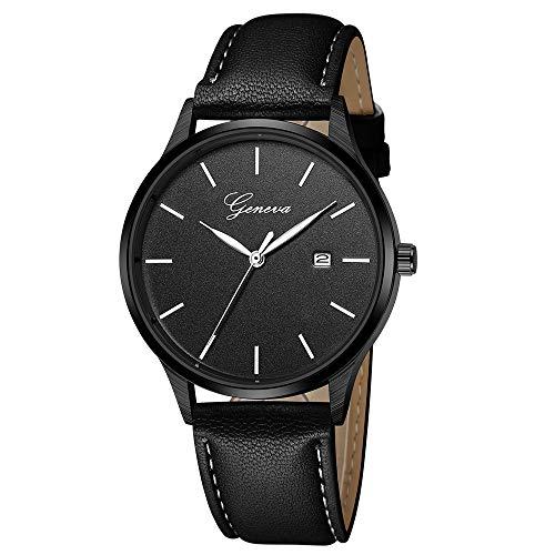Armbanduhr herren Liusdh Uhren Geneva single calendar schwarz mattes Zifferblatt uhr(D,Einheitsgröße)