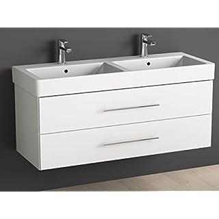 Aqua Bagno Badmöbel 120 cm inkl. Keramik Doppelwaschtisch/Badezimmer Möbel inkl. Doppel-Waschbecken mit Unterschrank - 2 hochwertige softclose Metallauszüge - weiß Hochglanz lackiert