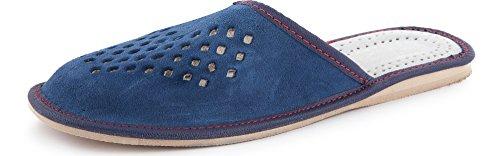 Ladeheid Pantofole in Pelle Uomo LABR180 (Blu Scuro, EU 43)