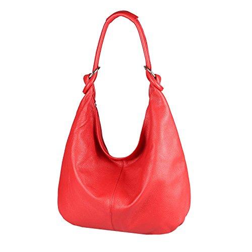 MADE IN ITALY DONNA XXL Pelle Borsa Shopper Borsa a tracolla da spalla, Borsa a sacchetto 47x35x16 cm ( BxHxT ) - bianco, 47x35x16 cm ( BxHxT ) rosso