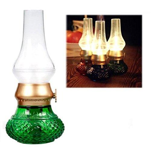 Bellabrunnen LED Tischlampe Klassische Lampe, Retro Vintage Laterne Blow LED mit Lithium-Akku USB-Kabel , LED Stimmungslampe, Nostalgie Licht, romantische Atmosphäre, Nachttischlampe für Camping ,BBQ, Party, Kinderzimmer (grün)
